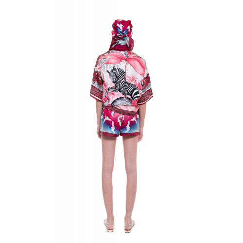 Achat Silk twill scarf with stork print 70x70 - Jacques-loup