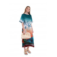 Achat Efialte Short sleeved dress made of silk with prints - Jacques-loup