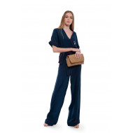 Achat Jumpsuit silk with short sleeves and embroidered logo - Jacques-loup