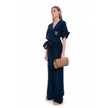 Jumpsuit silk with short sleeves and embroidered logo