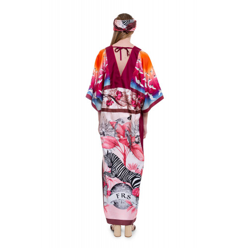 Achat Silk twill dress kimono style with animal print - Jacques-loup