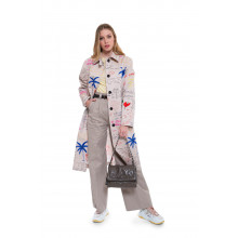 Cotton trench with decorative writing and graffitis
