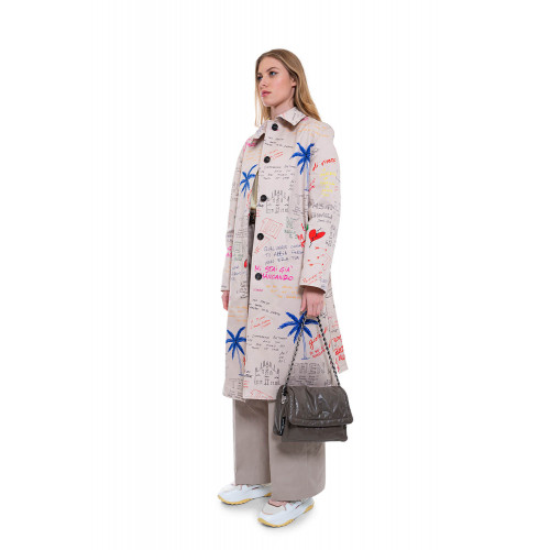 Achat Cotton trench with decorative writing and graffitis - Jacques-loup