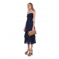 Achat Cotton strapped dress with flounces and dots print - Jacques-loup