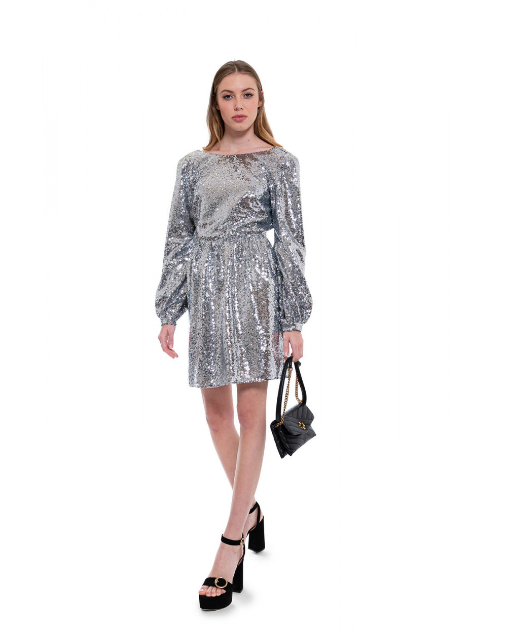 Camille Mini-B - Glittering short dress with deep neckline in the back
