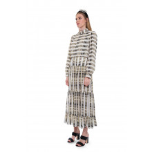 Isabel-B - Long silk dress with long sleeves