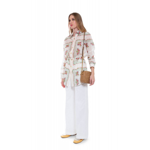 Achat Silk and cotton skirt or caftan with floral and square print - Jacques-loup