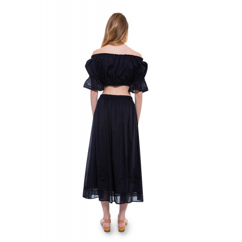 Achat Cotton veil skirt with floral embroideries and crochet lace - Jacques-loup