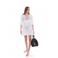Achat Cotton tunic with English embroideries and V neckline - Jacques-loup