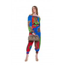 Silk top with colorful square print