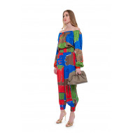Achat Silk top with colorful square print - Jacques-loup