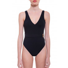 Bathing suit with draped belt and logo closing