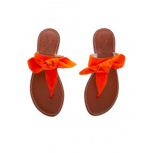 Suede toe thong mules with a decorative knot