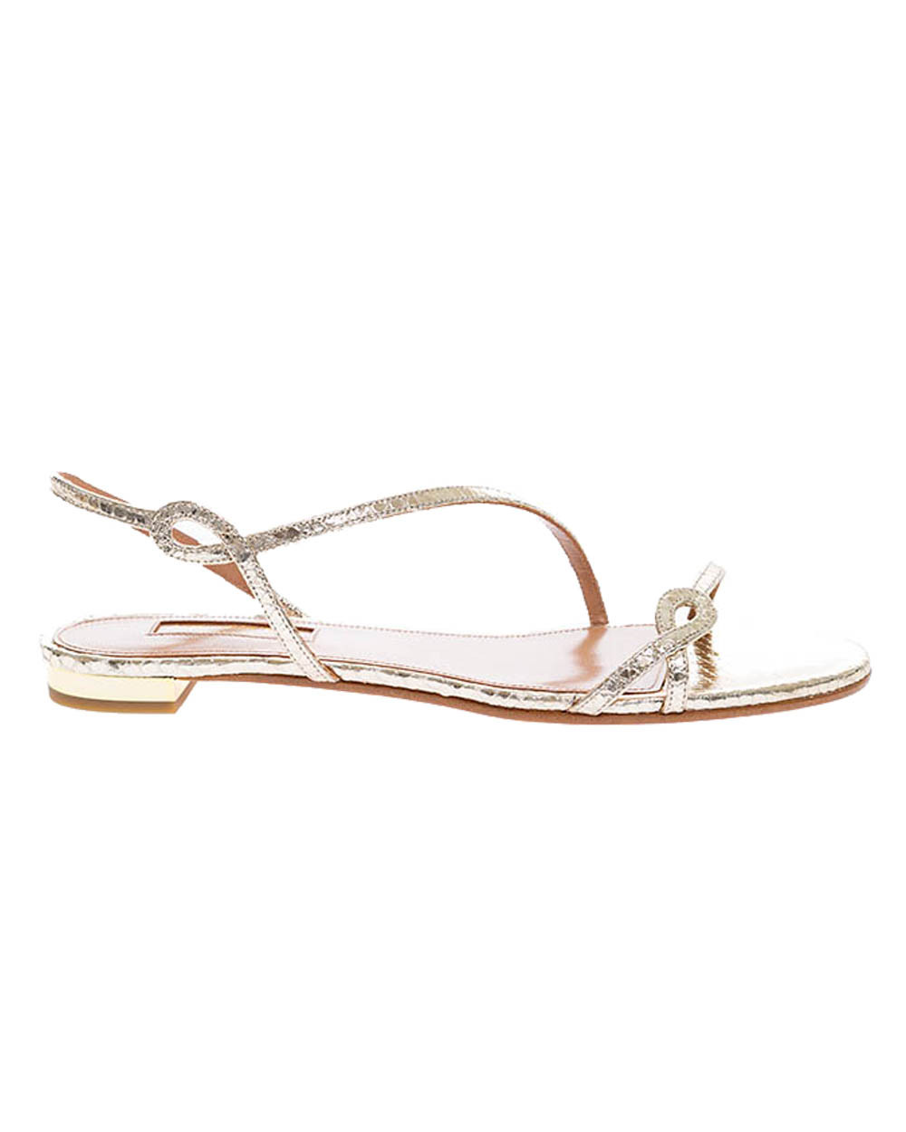 Serpentine - Calf leather sandals with python print and twisted straps 10