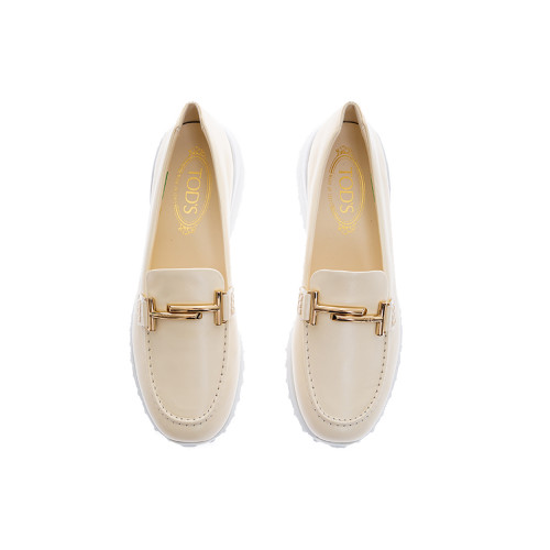 Achat Mocassin Tod's Fondo Sportivo doppia T blanc semelle gomme blanche pour femme - Jacques-loup