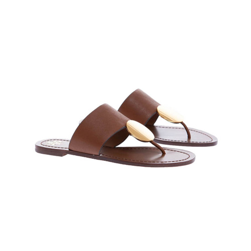 Achat Camel colored toe thong mules with gold plate Tory Burch for women - Jacques-loup