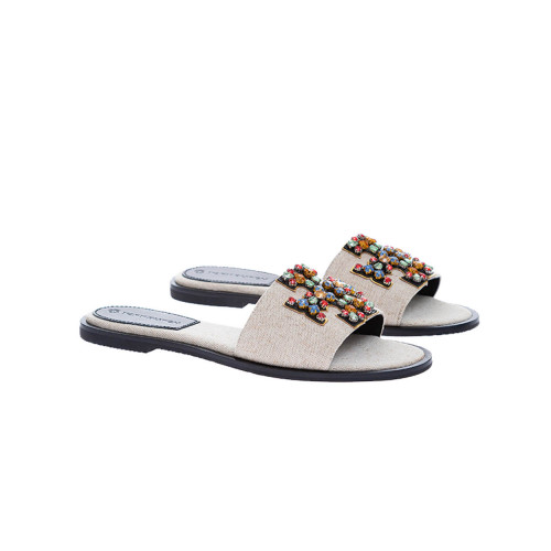 Achat Ines - Flat canvas mules with logo decorated with colorful stones - Jacques-loup