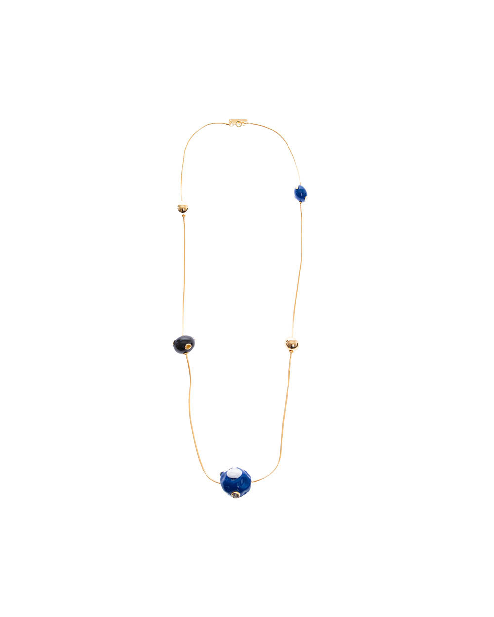 Long gold plated chain necklace with resin balls