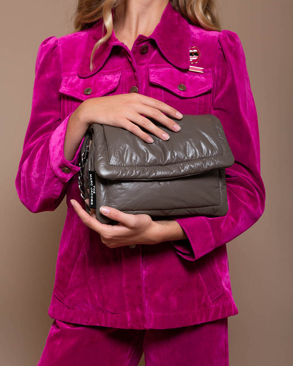 Pillow - Bag with natural padded leather