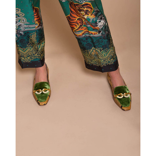 Achat Jessa - Calf leather and velvet moccasins with hippocampus details - Jacques-loup