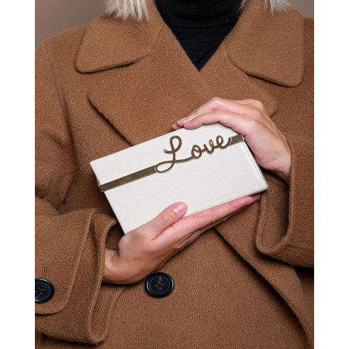 Achat Love Vanina - Leather clutch bag with metal word Love - Jacques-loup
