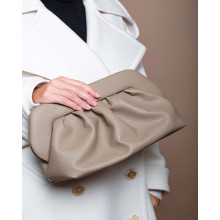 XL Clutch bag with reused grain-embossed leather and shoulder strap