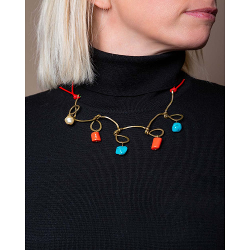 Achat Necklace with hanging coral and turquoise stones - Jacques-loup